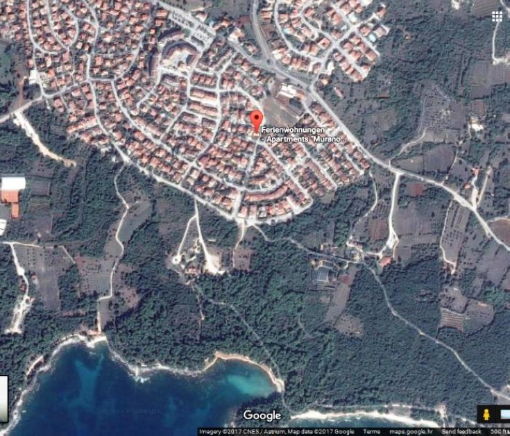 Exact position where apartments Murano Rovinj are situated.